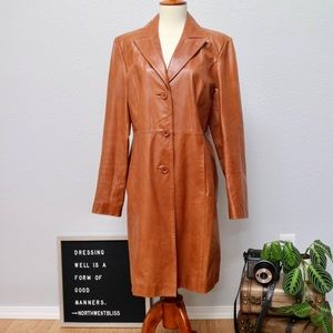 Guess Vintage Brown Leather Trench Coat